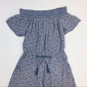 A&F S Blue Floral Off Shoulder Romper with pockets